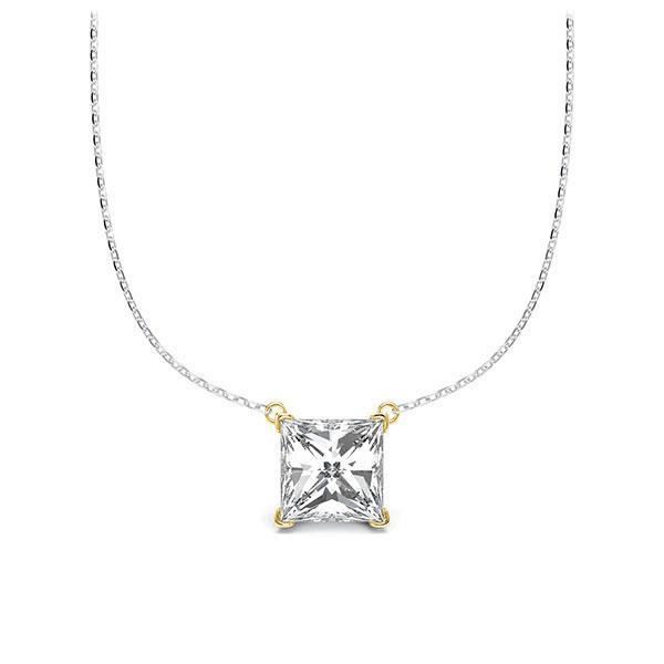 Collier in Weißgold 585 Gelbgold 585 mit 1 ct. Prinzess-Diamant tw, vs von Steinberg - Q-ZLEZB-WG5-V9BCLZ