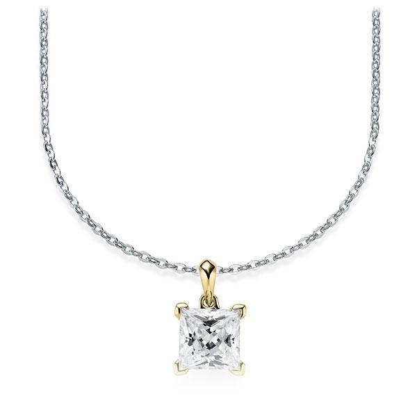 Collier in Weißgold 585 Gelbgold 585 mit 1 ct. Prinzess-Diamant tw, vs von Steinberg - Q-ZLF0W-WG5-V9BCLZ