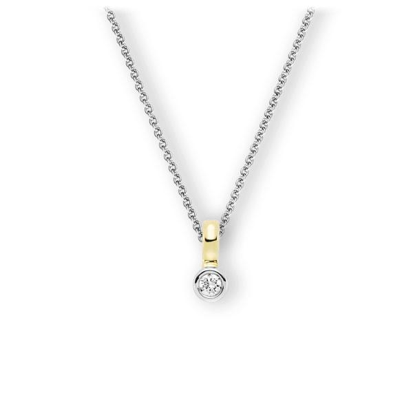 Collier in Weißgold 585 Gelbgold 585 mit zus. 0,1 ct. Brillant tw, vs von 123gold - E-3WITH-WG5-1Z8K4Z