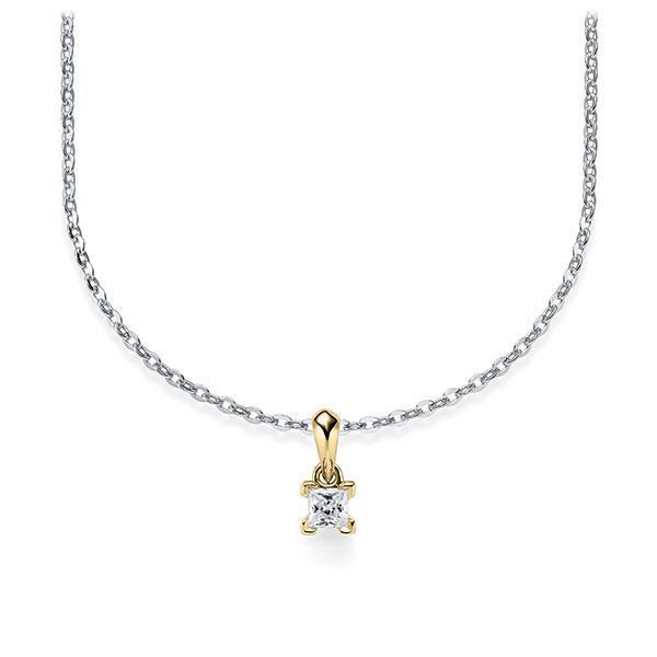 Collier in Weißgold 585 Gelbgold 585 mit zus. 0,1 ct. Prinzess-Diamant tw, si von Steinberg - Q-ZLF0G-WG5-1Q9JFJZ