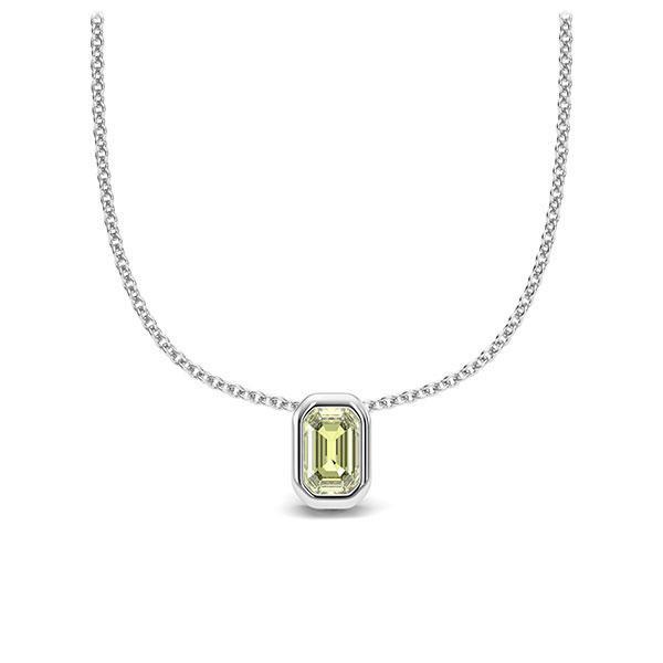 Collier in witgoud 14 kt. 1 Steen 4,7 x 3 mm Emerald - Cut Peridot van Eternal Touch - E-11INWD-WW5-1TPPIIZ