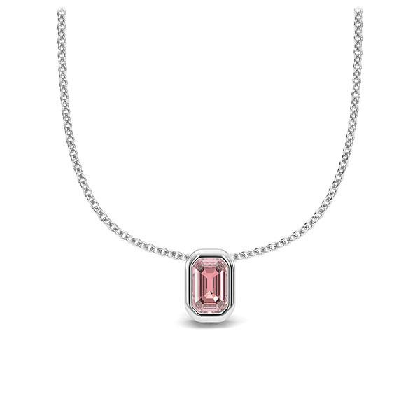 Collier in witgoud 14 kt. 1 Steen 4,7 x 3 mm Emerald - Cut Roze Toermalijn van Eternal Touch - E-11INWE-WW5-1TPPIJZ