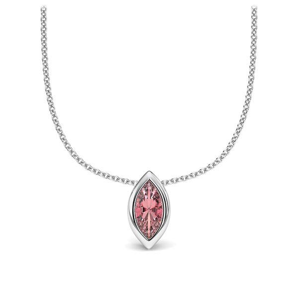 Collier in witgoud 14 kt. 1 Steen 7,5 x 3,5 mm Navette - Cut Roze Toermalijn van Eternal Touch - E-11INWQ-WW5-1TQ6FRZ