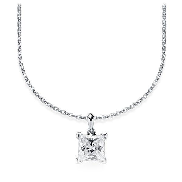 Collier in witgoud 14 kt. met 1 ct. Princess-Diamant tw,vs van Steinberg - Q-ZLF0T-WW5-V9BCLZ