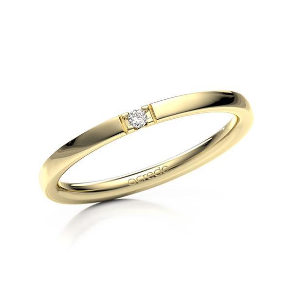 Memoire/Diamantenring in geelgoud 14 kt. met in totaal 0,02 ct. Briljant tw,vs van acredo - A-12EXNH-G5-2LGESZ