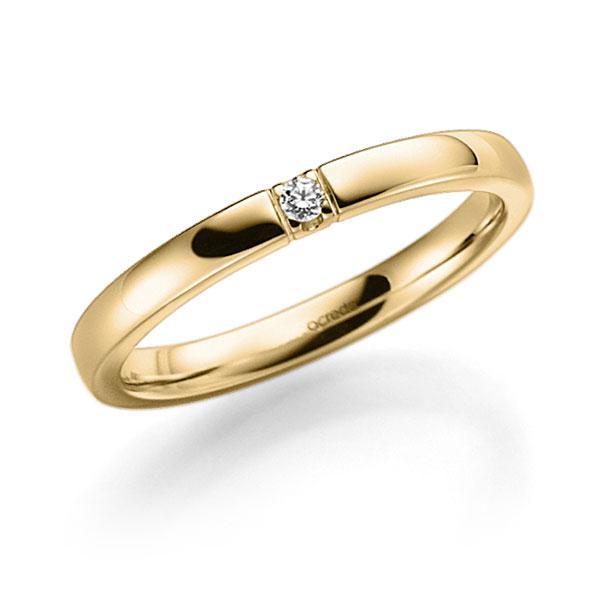 Memoire/Diamantenring in geelgoud 14 kt. met in totaal 0,02 ct. Briljant tw,vs van acredo - A-7WX8L-G5-2LGESZ