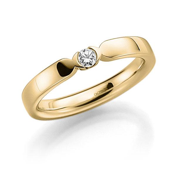 Memoire/Diamantenring in geelgoud 14 kt. met in totaal 0,1 ct. Briljant tw,vs van acredo - A-7J061-G5-95Z76Z