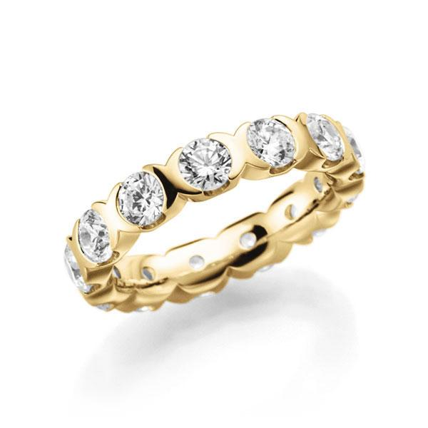 Memoire/Diamantenring in geelgoud 14 kt. volledig gezet met in totaal 2,6 ct. Briljant tw,vs van acredo - A-3RZ5P-G5-2LHIRZ