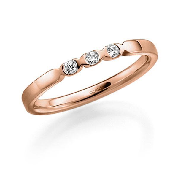 Memoire/Diamantenring in roodgoud 14 kt. met in totaal 0,09 ct. Briljant tw,vs van acredo - A-3RZ5Q-R5-2LGI7Z