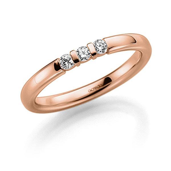 Memoire/Diamantenring in roodgoud 14 kt. met in totaal 0,09 ct. Briljant tw,vs van acredo - A-7J1DB-R5-2LGI7Z