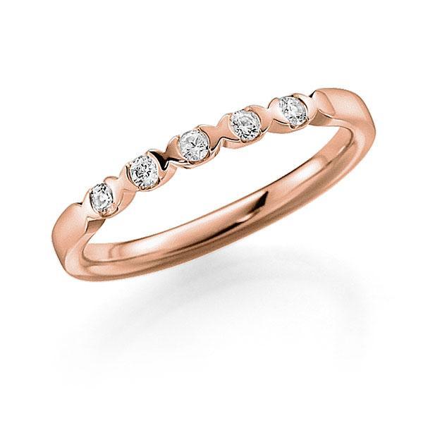 Memoire/Diamantenring in roodgoud 14 kt. met in totaal 0,15 ct. Briljant tw,vs van acredo - A-3RZ5S-R5-2LHGUZ