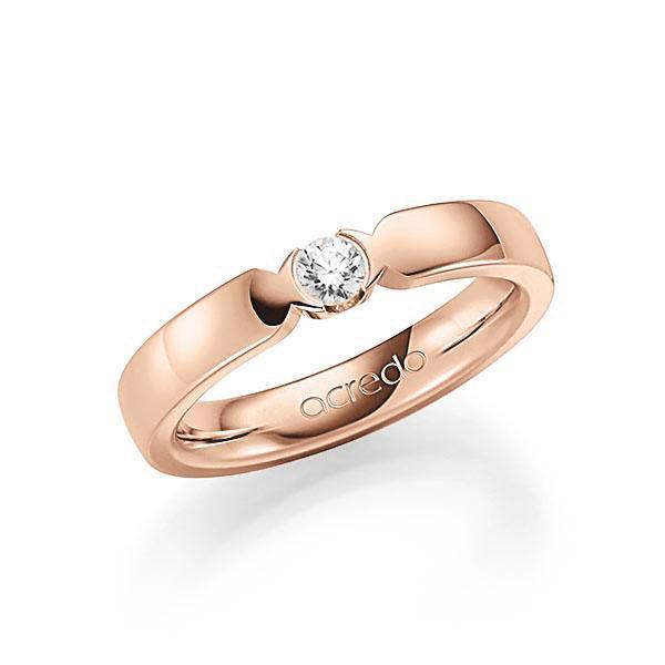 Memoire/Diamantenring in roodgoud 14 kt. met in totaal 0,15 ct. Briljant tw,vs van acredo - A-7J0D6-R5-2LH73Z
