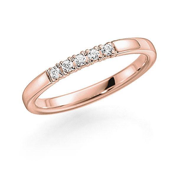 Memoire/Diamantenring in roodgoud 14 kt. met in totaal 0,1 ct. Briljant tw,vs van acredo - A-7INMW-R5-2LGKIZ