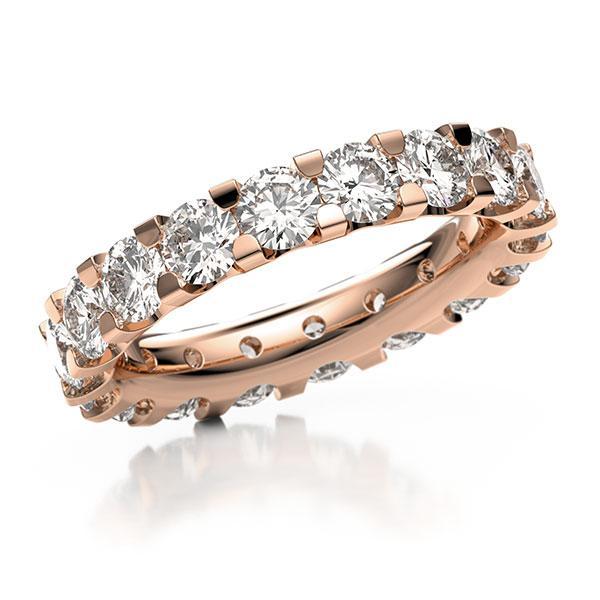 Memoire/Diamantenring in roodgoud 14 kt. volledig gezet met in totaal 4,14 ct. Briljant tw,vs van acredo - A-10LAKM-R5-2LGFRZ