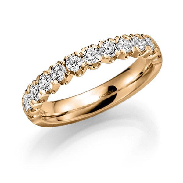 Memoire/Diamantenring in roségoud 14 kt. half gezet met in totaal 0,91 ct. Briljant tw,vs van acredo - A-7X536-E5-958IWZ