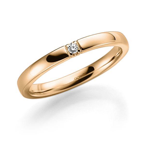 Memoire/Diamantenring in roségoud 14 kt. met in totaal 0,04 ct. Briljant tw,vs van acredo - A-7ILSR-E5-9RECRZ