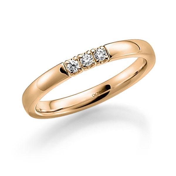 Memoire/Diamantenring in roségoud 14 kt. met in totaal 0,12 ct. Briljant tw,vs van acredo - A-7WX3G-E5-9RE11Z