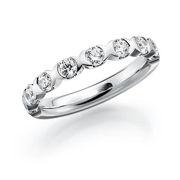 Memoire/Diamantenring in witgoud 14 kt. half gezet met in totaal 0,8 ct. Briljant tw,vs van acredo - A-3RZ6N-W5-3FTXYZ