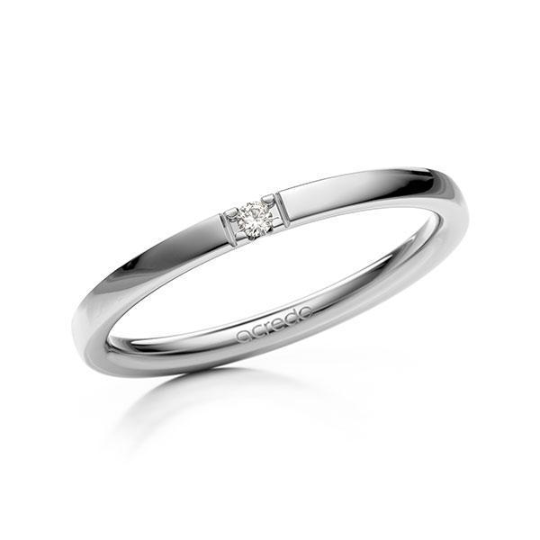 Memoire/Diamantenring in witgoud 14 kt. met in totaal 0,02 ct. Briljant tw,vs van acredo - A-12EX98-W5-2LGESZ