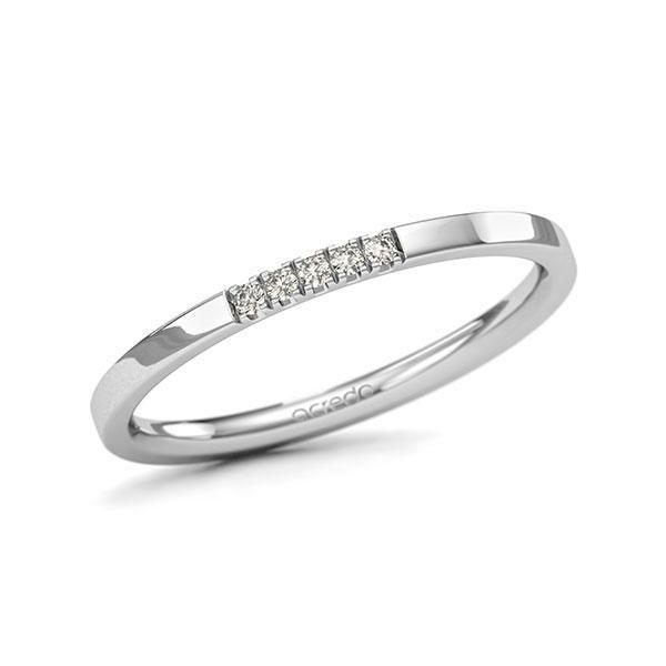 Memoire/Diamantenring in witgoud 14 kt. met in totaal 0,05 ct. Briljant tw/si van acredo - A-11QGD3-W5-1SYRFEZ