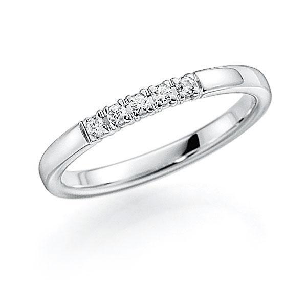 Memoire/Diamantenring in witgoud 14 kt. met in totaal 0,1 ct. Briljant tw,vs van acredo - A-7INNR-W5-2LGKIZ