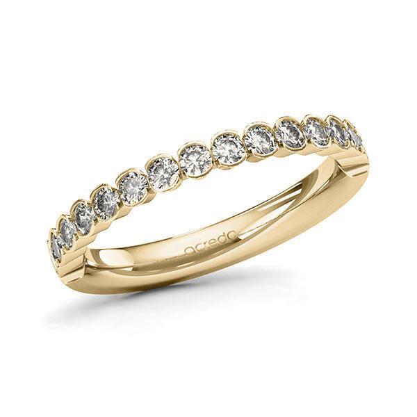 Memoire/Diamantring in Gelbgold 585 halbausgefasst mit zus. 0,64 ct. Brillant tw, si von acredo - A-11MIRP-G5-1TWLFBZ
