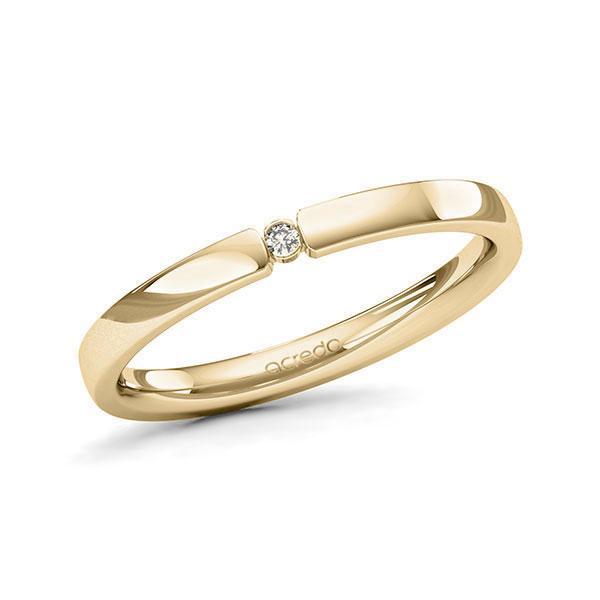 Memoire/Diamantring in Gelbgold 585 mit zus. 0,015 ct. Brillant tw, si von acredo - A-11MISW-G5-1T634SZ