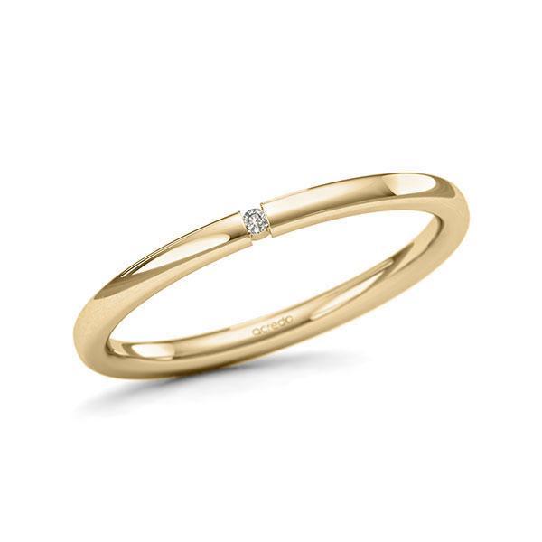 Memoire/Diamantring in Gelbgold 585 mit zus. 0,01 ct. Brillant tw, si von acredo - A-11QEPF-G5-1SY0TYZ