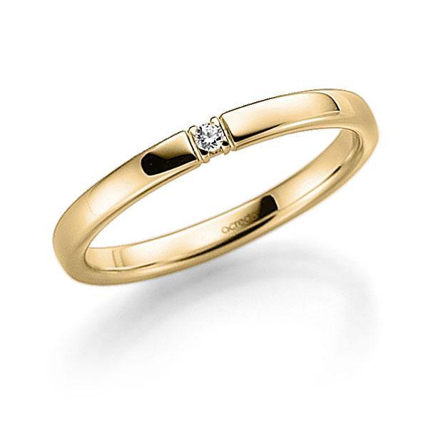 Memoire/Diamantring in Gelbgold 585 mit zus. 0,03 ct. Brillant tw, vs von acredo - A-7IP71-G5-2LHHYZ