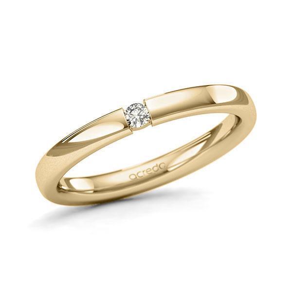 Memoire/Diamantring in Gelbgold 585 mit zus. 0,05 ct. Brillant tw, si von acredo - A-11QEQ3-G5-8XRM1Z