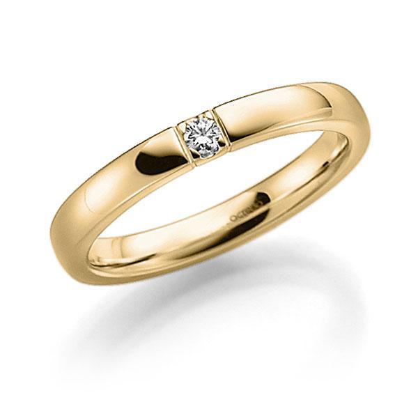 Memoire/Diamantring in Gelbgold 585 mit zus. 0,06 ct. Brillant tw, vs von acredo - A-7IP9B-G5-8Y0G6Z