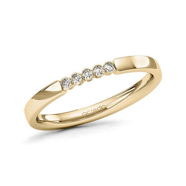 Memoire/Diamantring in Gelbgold 585 mit zus. 0,075 ct. Brillant tw, si von acredo - A-11MIXR-G5-1T61TZZ