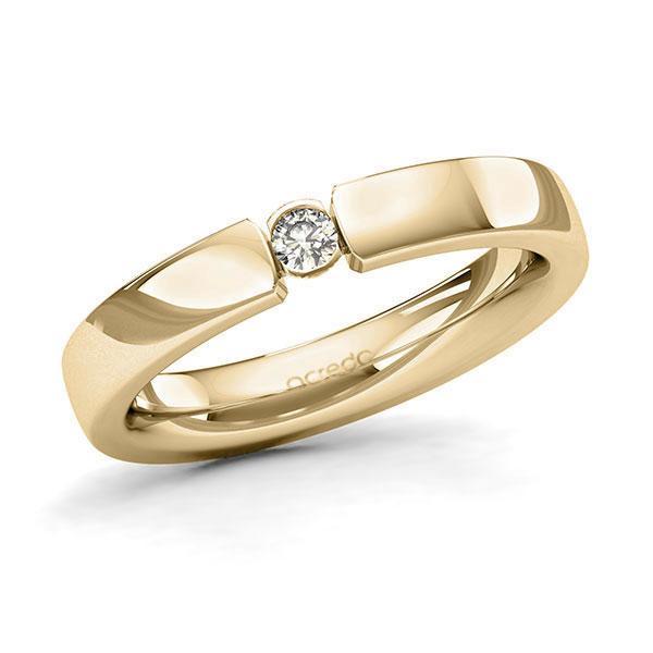Memoire/Diamantring in Gelbgold 585 mit zus. 0,08 ct. Brillant tw, si von acredo - A-128Q0I-G5-9QZ56Z