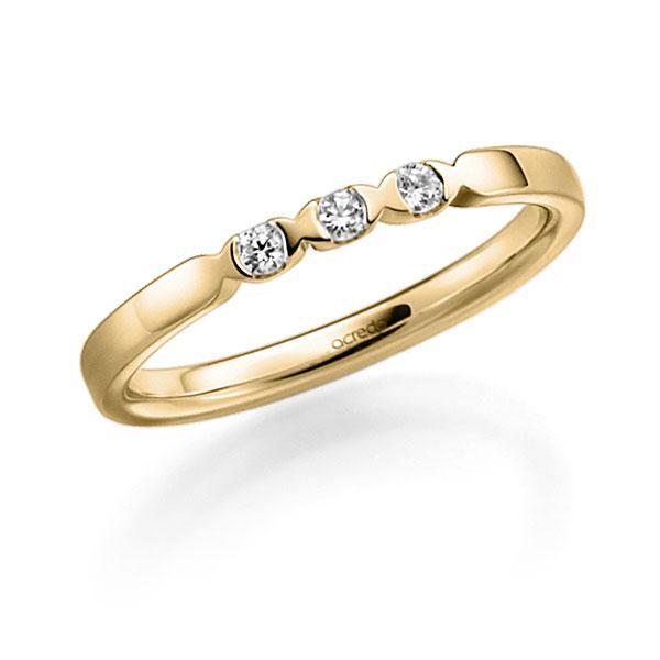 Memoire/Diamantring in Gelbgold 585 mit zus. 0,09 ct. Brillant tw, vs von acredo - A-3RZ59-G5-2LGI7Z