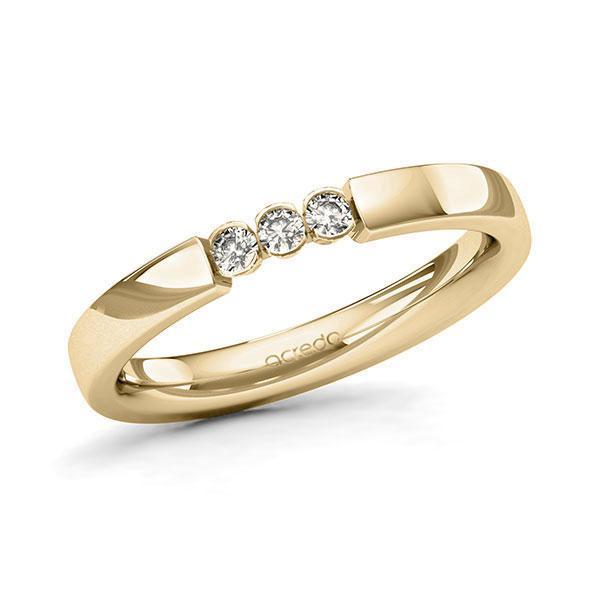 Memoire/Diamantring in Gelbgold 585 mit zus. 0,12 ct. Brillant tw, si von acredo - A-11MIWV-G5-9QZ16Z