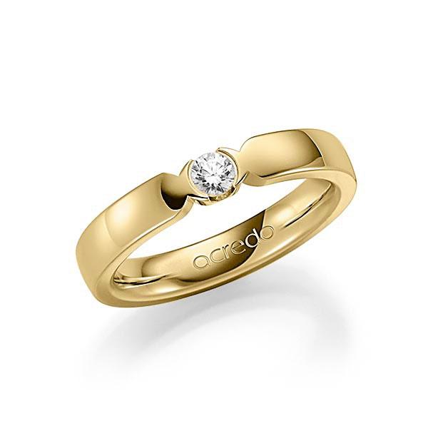 Memoire/Diamantring in Gelbgold 585 mit zus. 0,15 ct. Brillant tw, vs von acredo - A-SP74L-G5-2LH73Z