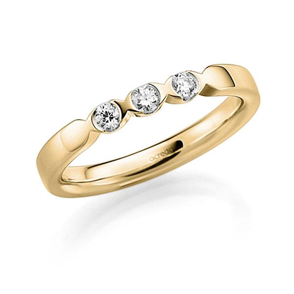 Memoire/Diamantring in Gelbgold 585 mit zus. 0,18 ct. Brillant tw, vs von acredo - A-3RZ5E-G5-3FTXTZ