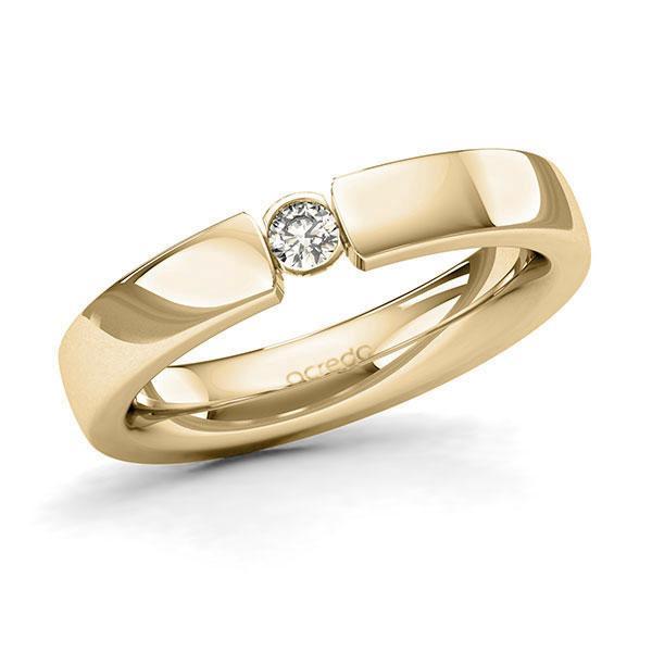Memoire/Diamantring in Gelbgold 585 mit zus. 0,1 ct. Brillant tw, si von acredo - A-128Q0K-G5-95RL6Z