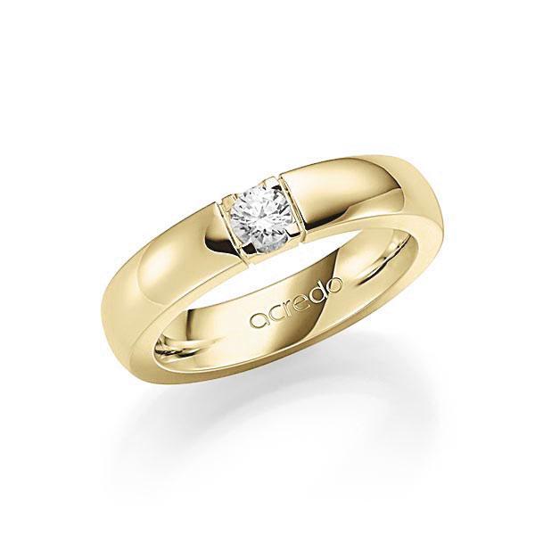 Memoire/Diamantring in Gelbgold 585 mit zus. 0,25 ct. Brillant tw, vs von acredo - A-7IM7W-G5-1TXEFZ
