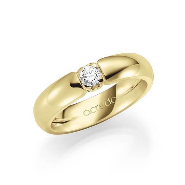 Memoire/Diamantring in Gelbgold 585 mit zus. 0,2 ct. Brillant tw, vs von acredo - A-7X16L-G5-1TXECZ