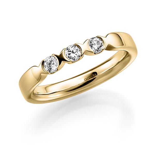 Memoire/Diamantring in Gelbgold 585 mit zus. 0,3 ct. Brillant tw, vs von acredo - A-3RZ5J-G5-3FTXWZ