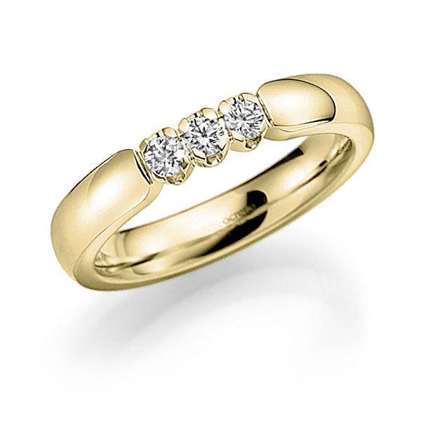 Memoire/Diamantring in Gelbgold 585 mit zus. 0,3 ct. Brillant tw, vs von acredo - A-8BF16-G5-914LGZ
