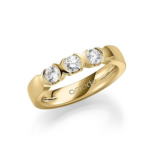 Memoire/Diamantring in Gelbgold 585 mit zus. 0,6 ct. Brillant tw, vs von acredo - A-SP76B-G5-1C841BZ