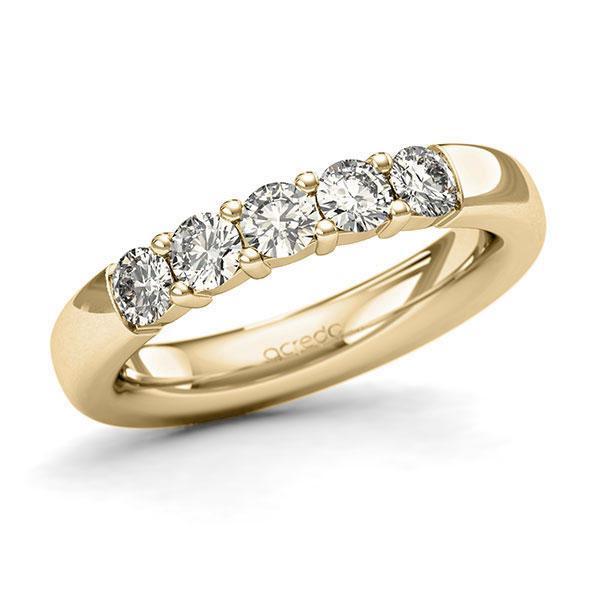 Memoire/Diamantring in Gelbgold 585 mit zus. 0,75 ct. Brillant tw, si von acredo - A-127MUR-G5-1C8ZIGZ