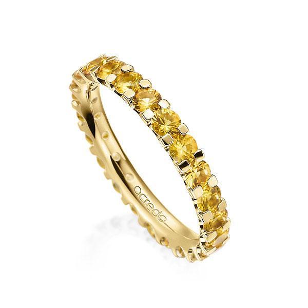 Memoire/Diamantring in Gelbgold 585 vollausgefasst mit zus. 2,07 ct. Brillant Saphir Gelb (A 8) von acredo - A-10L1DF-G5-1RUNKVZ