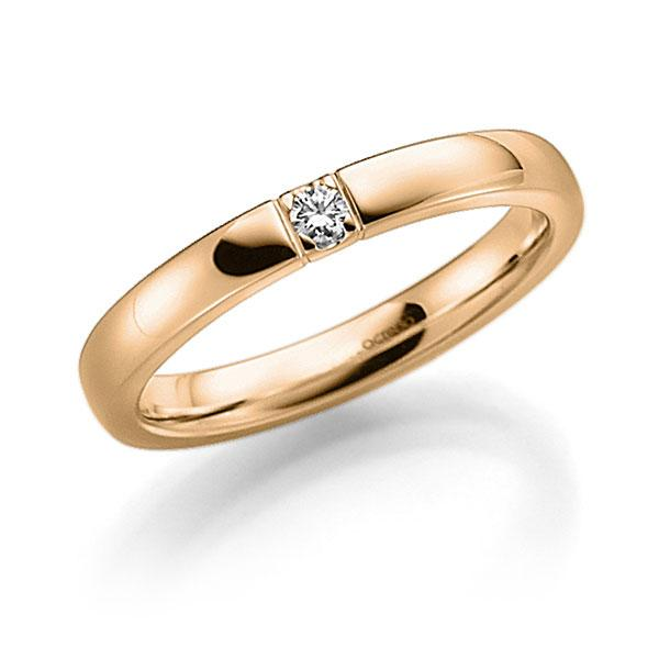 Memoire/Diamantring in Roségold 585 mit zus. 0,06 ct. Brillant tw, vs von acredo - A-7WX4L-E5-8Y0G6Z