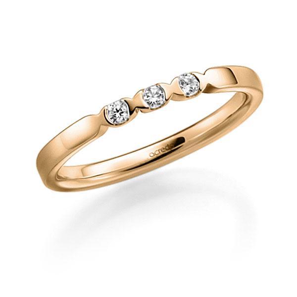Memoire/Diamantring in Roségold 585 mit zus. 0,09 ct. Brillant tw, vs von acredo - A-3RZ4T-E5-2LGI7Z