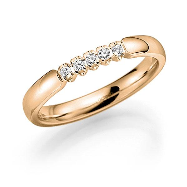 Memoire/Diamantring in Roségold 585 mit zus. 0,1 ct. Brillant tw, vs von acredo - A-7X10L-E5-2LGKIZ