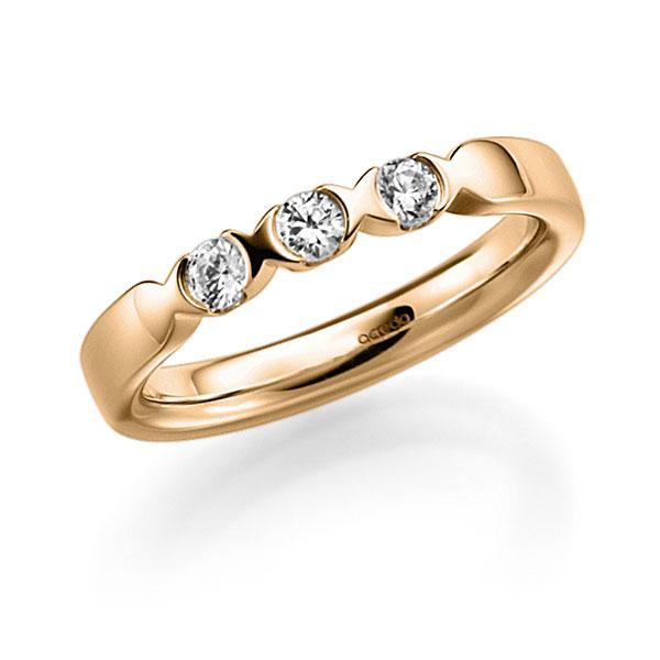 Memoire/Diamantring in Roségold 585 mit zus. 0,3 ct. Brillant tw, vs von acredo - A-3RZ53-E5-3FTXWZ