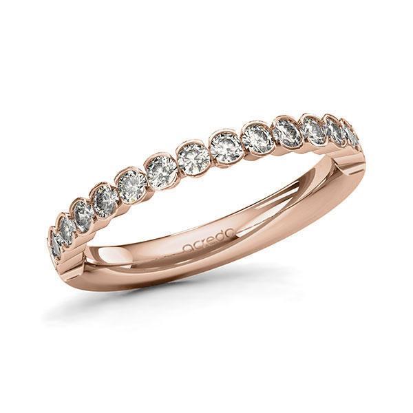 Memoire/Diamantring in Rotgold 585 halbausgefasst mit zus. 0,64 ct. Brillant tw, si von acredo - A-11MIRS-R5-1TWLFBZ